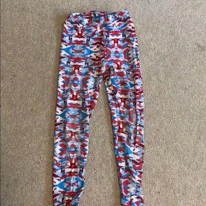 girls red white and blue leggings lularos